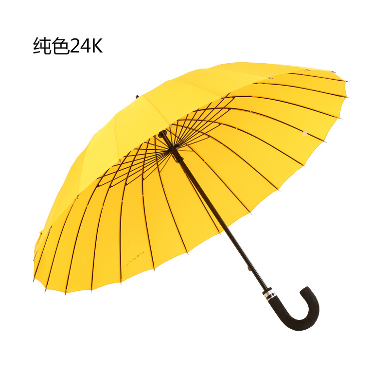 Currently Available Wholesale 24k Ultra Large Straight Umbrella 24 Bone Curved Handle All-Weather Umbrella Day South Korea Creat