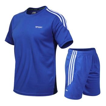 Mens Tracksuits Set 2020 Summer Men Shorts Sets New Sportswear Short-Sleeved Shirts +Shorts Casual Outwear Man Sport Sweat Suits 4