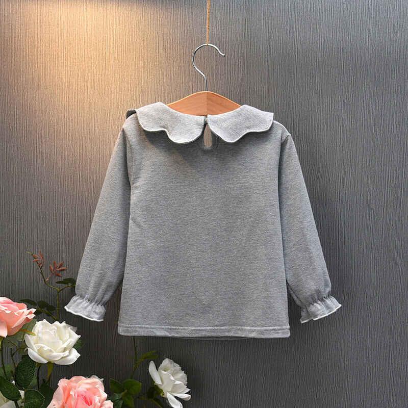 新しい幼児の子供の女長袖の人形の襟 Tシャツカジュアル春秋子供女の子服 Tシャツ 0-7Y トップス