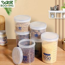 WBBOOMING Screw Type Plastic Sealed Can 3 Capacity Kitchen Storage Blue And Transparent Visible Body Box Food Canister Container