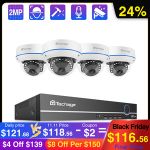 Image 1 - Techage 4CH 1080P 보안 POE NVR 카메라 시스템 2MP 오디오 사운드 IP 카메라 야외 IR 야간 감시 키트 CCTV 비디오