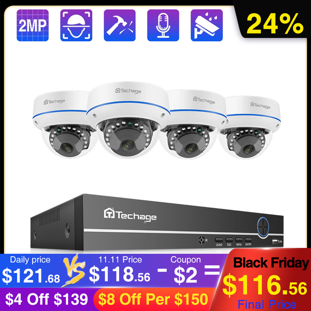 Techage 4CH 1080P 보안 POE NVR 카메라 시스템 2MP 오디오 사운드 IP 카메라 야외 IR 야간 감시 키트 CCTV 비디오