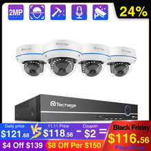 Techage 4CH 1080P Security POE NVR Camera System 2MP Audio Sound IP Camera Outdoor IR Night Vision Kit di sorveglianza CCTV Video