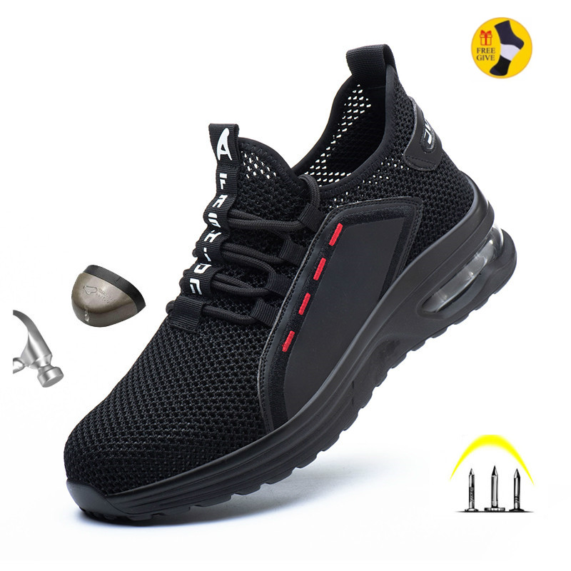 Work Shoes Hollow Breathable Steel Toe Boots Lightweight Safety Work Shoes Anti-slippery For Men Women Male Work Sneaker