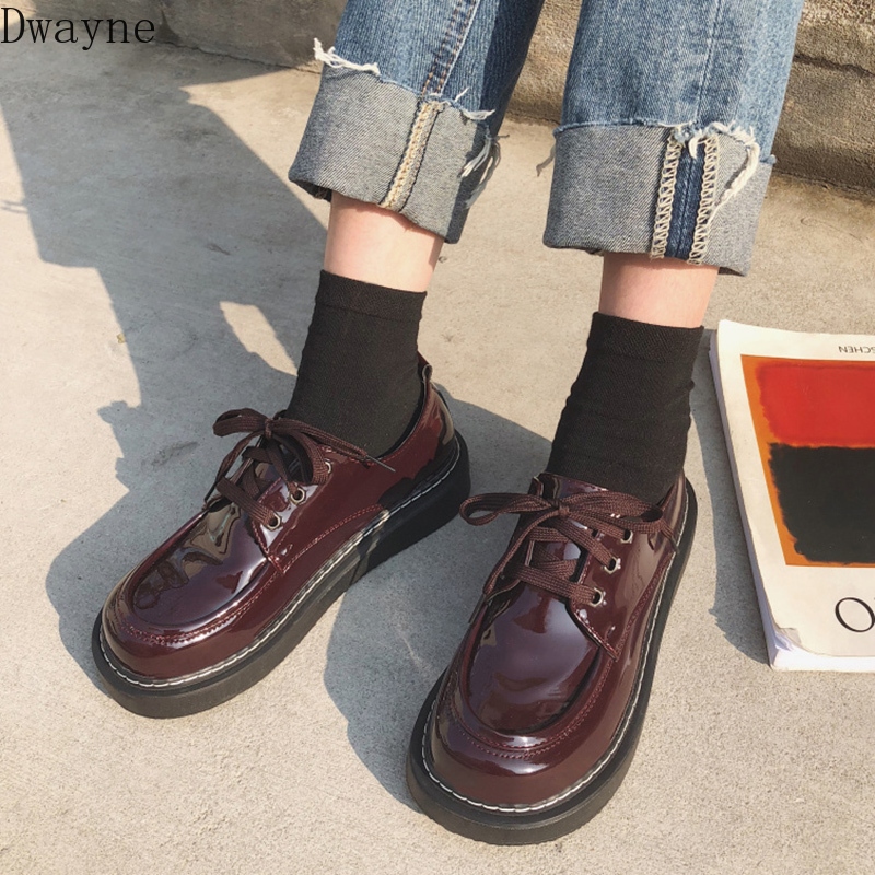 Japanese Harajuku Wild Small Leather Shoes British Wind Student Casual Shoes Retro Womens Shoes Flat Big Head Single Shoes