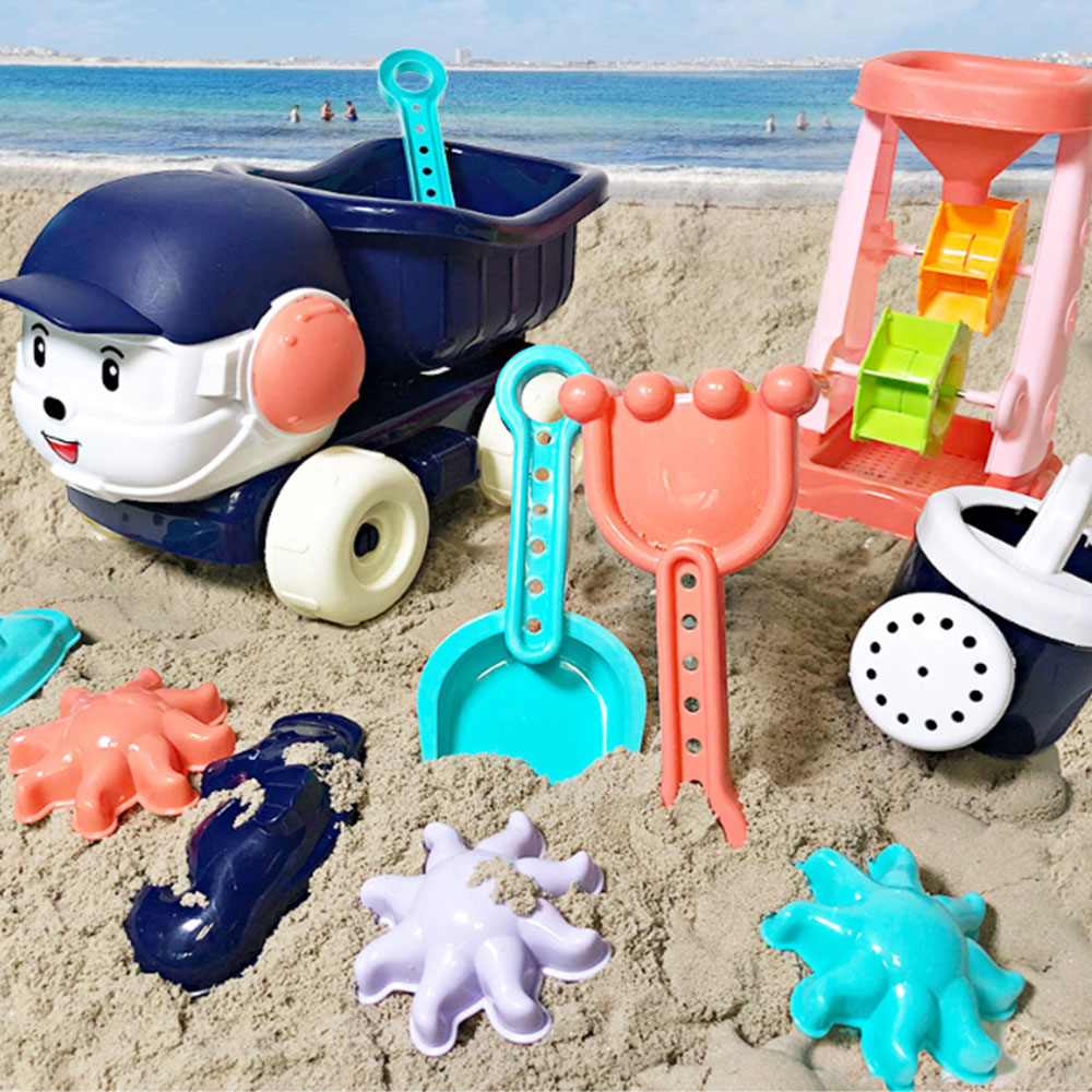 New Arrival 6pcs Baby Beach Sand Toys Children's Summer Toys Car Model Sprinkler Shower Shovel Tools Classical Play Toys May18