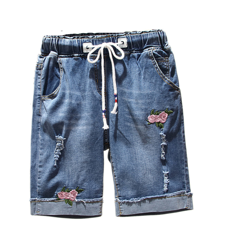 Large Size Womens Summer Denim Shorts Elastic Waist Hole High Waist Plus Size Embroidery Ripped Loose Shorts Jeans For Female