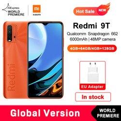 Câmera traseira 128 mah não nfc do snapdragon 662 48mp do smartphone da versão global da estreia do mundo xiaomi redmi 9t 4gb 64gb/4gb 6000 gb