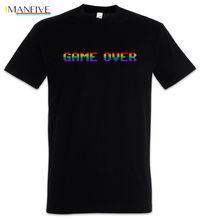 Game Over Rainbow T-Shirt Gamer Gaming Games Fun Geek Nerd Coder Regenbogen Print T Shirt Mens Short Sleeve Hot top tee цена