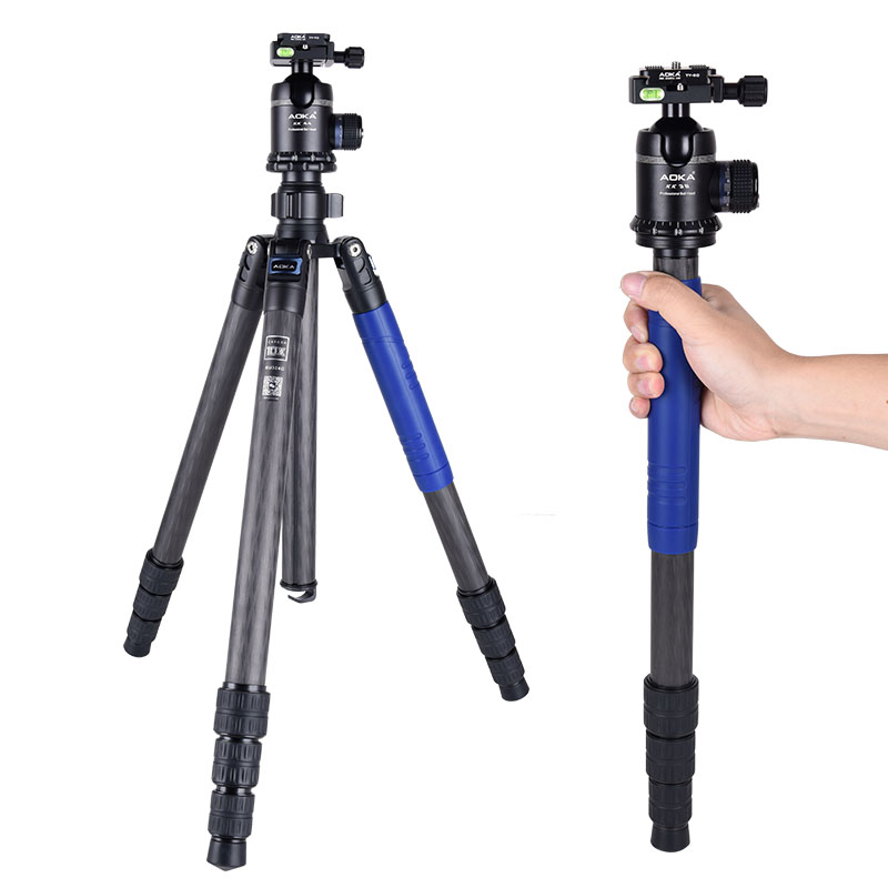AOKA KU324C+KK44 Professional outdoor travel low gravity carbon fiber camera tripod