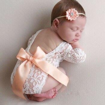 Ropa de atrezos para fotografía de bebés recién nacidos, monos bonitos y encantadores con lazo de encaje, ropa para fotos de bebés y bebés + banda para el pelo, conjunto de trajes de 2 uds