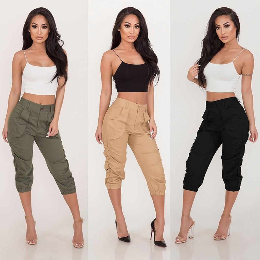 Cargo Pants Plus Size S-3XL Women's Safari Style Rrousers Beam Foot Pocket Loose Cropped Trousers Harem Pants Freeship брюки