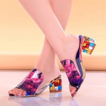 Lucyever, Sandalias de tacón alto con diamantes de imitación coloridos a la moda para mujer, zapatillas sexis con punta abierta y dedos descubiertos, chanclas de playa de fiesta para mujer