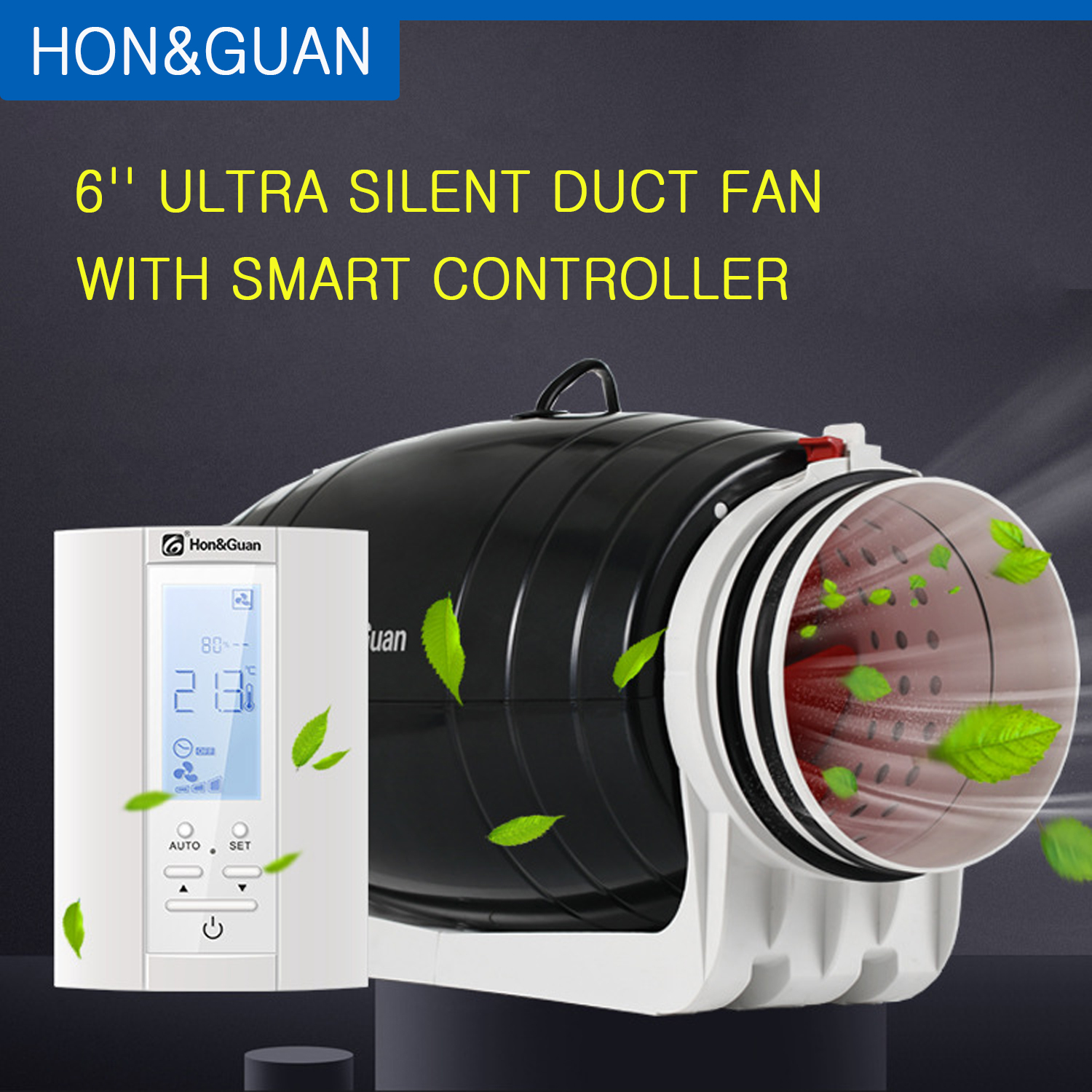 Hon/&Guan Extractor Inline Duct Fan with Timer Delay Super Light and Quiet 100mm with Timer