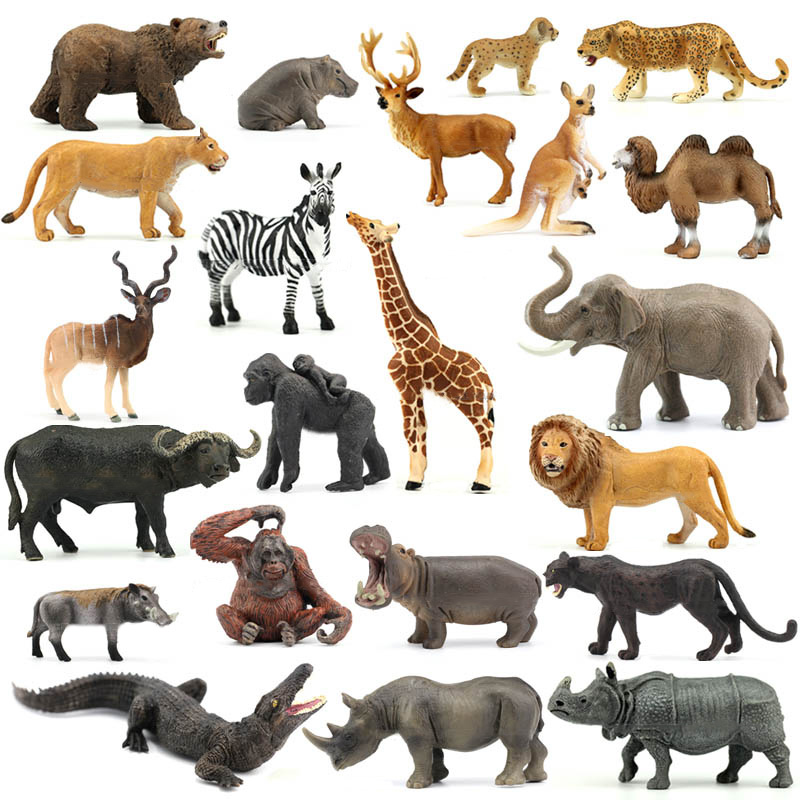 Genuine Jungle Wild Farm Zoo Animal Sets Lion Tiger Hippo Rhino Elephant Warthog Figurines Kids Learning Toy Children Gift