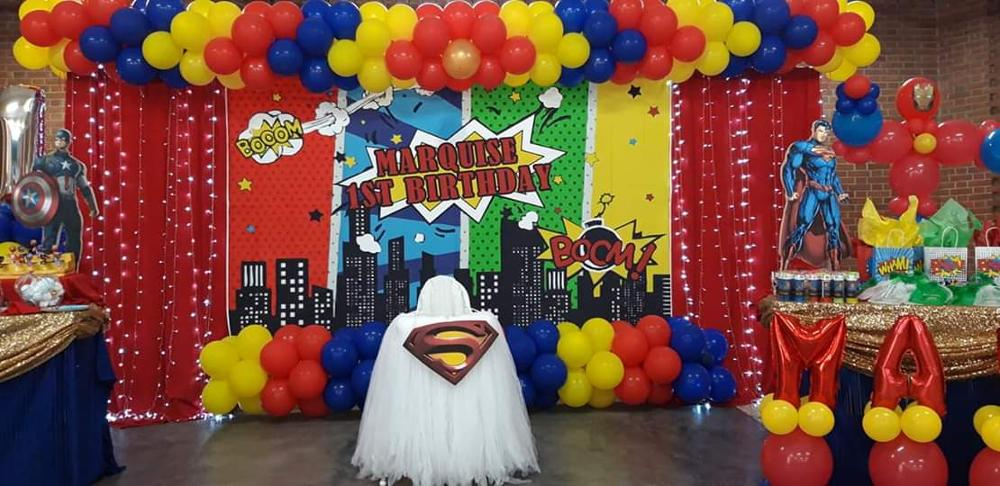 Superhero Backdrops Birthday Party Baby Comics Personalized Poster Portrait Photographic Photography Photocall Photo Studio in Background from Consumer Electronics
