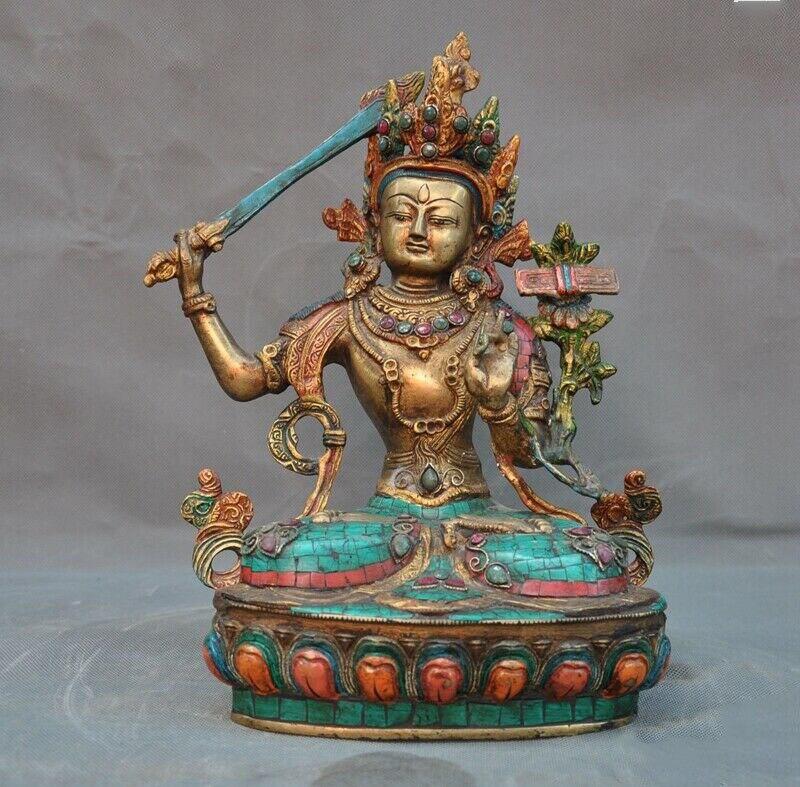 Wedding Decoration Tibet Fane Bronze Inlay Turquoise Gem Wenshu Manjushri Hold Sword Buddha Statue