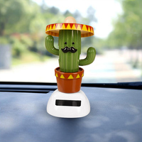 Solar Beach Girl Cactus Automatic Swing Car Interior Ornament 4