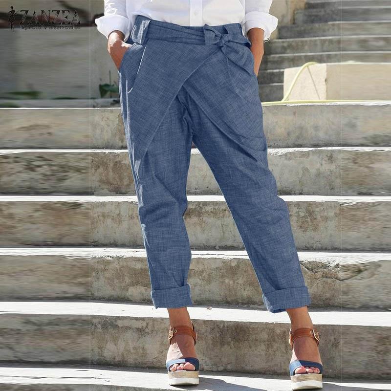 ZANZEA mujeres Casual lápiz pantalones de moda de encaje pantalones Harem sólido elástico cintura suelta Pantalones mujer Turnip Pantalon talla grande