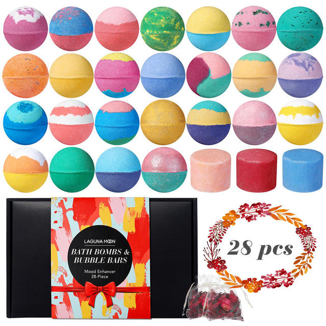 LAGUNAMOON 28Pcs Fresh Scent Multi-Flavor Bath Bombs Gift Set Bubble Bars Salt Ball Mood Enhancer Skin Moisturize 1