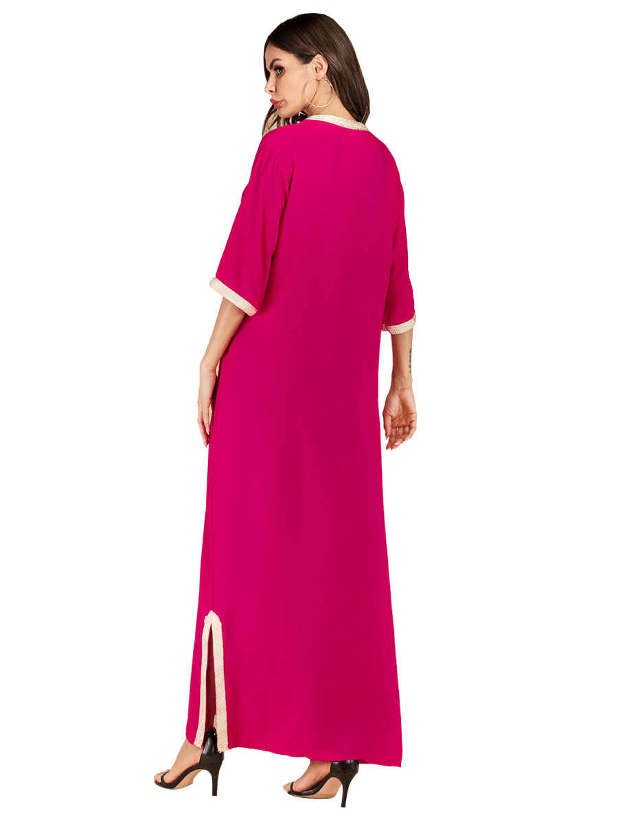 Женские летние богемные бисер с бриллиантом Макси платье Вышивка мусульманское abaya негабаритных кафтан платье из Дубая арабский Рамадан платье VKDR1760