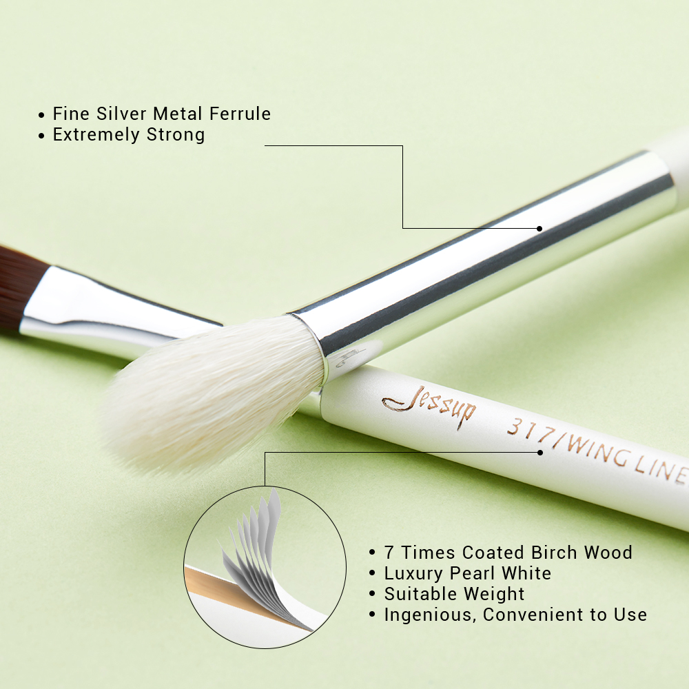 Image 3 - Jessup 15pcs makeup brushes Pearl White/Silver Synthetic Bristles maquiagem professional complete eyeshadow pencil brushes T237jessup brushesprofessional makeup brushesset cosmetic brushes -