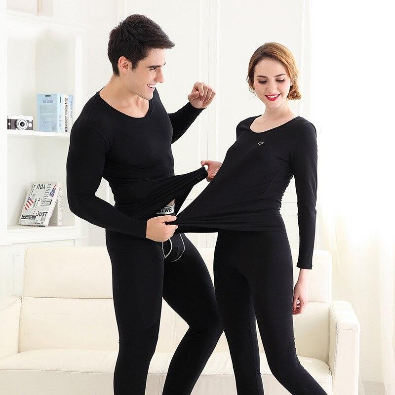 Newly 2020 Euramerican Style Women Men Seamless Elastic Thermal Underwear Inner Wear Winter Warm Underwear O-Neck Solid Color