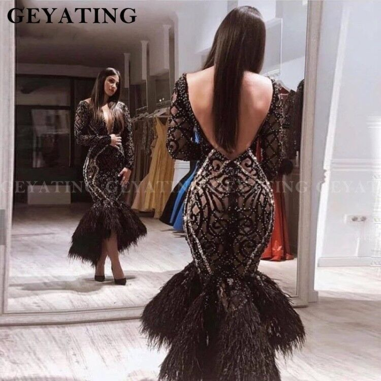 Sexy V-Neck Backless Black Mermaid Feathers Prom Dresses Long Sleeves High Low Semi Formal Gala Dress Short Midi Evening Gowns