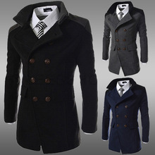 Winter double-breasted trench coat mens lapel double-sided tweed long black