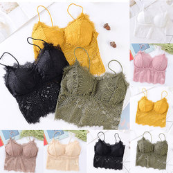 Female Summer Crop Tank Top Women Fashion Deep V Lace Bras Embroidery Floral Tank Top Bra Wrapped Chest Camisole Padded Bra