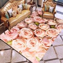 3D 인쇄 카펫 장미 꽃 깔개 여러 가지 빛깔의 핑크 레드 웨딩 카펫 Antislip 거실 카펫 대형 여자 룸 매트 홈