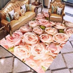 3d impressão tapete rosa flor multicolorido rosa vermelho casamento tapete antiderrapante sala de estar tapete grande meninas quarto esteira casa