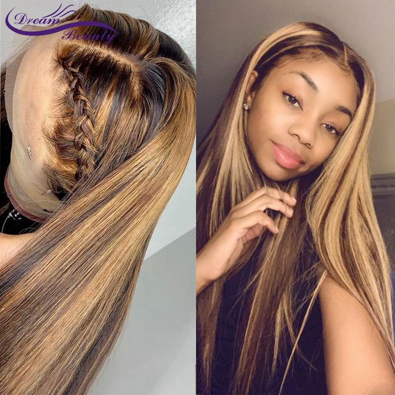 Highlight Ombre Blonde Brazilian Straight Hair 13X6 Lace Front Human Hair Wigs 180% Pre Plucked Wigs With Baby Hair Dream Beauty