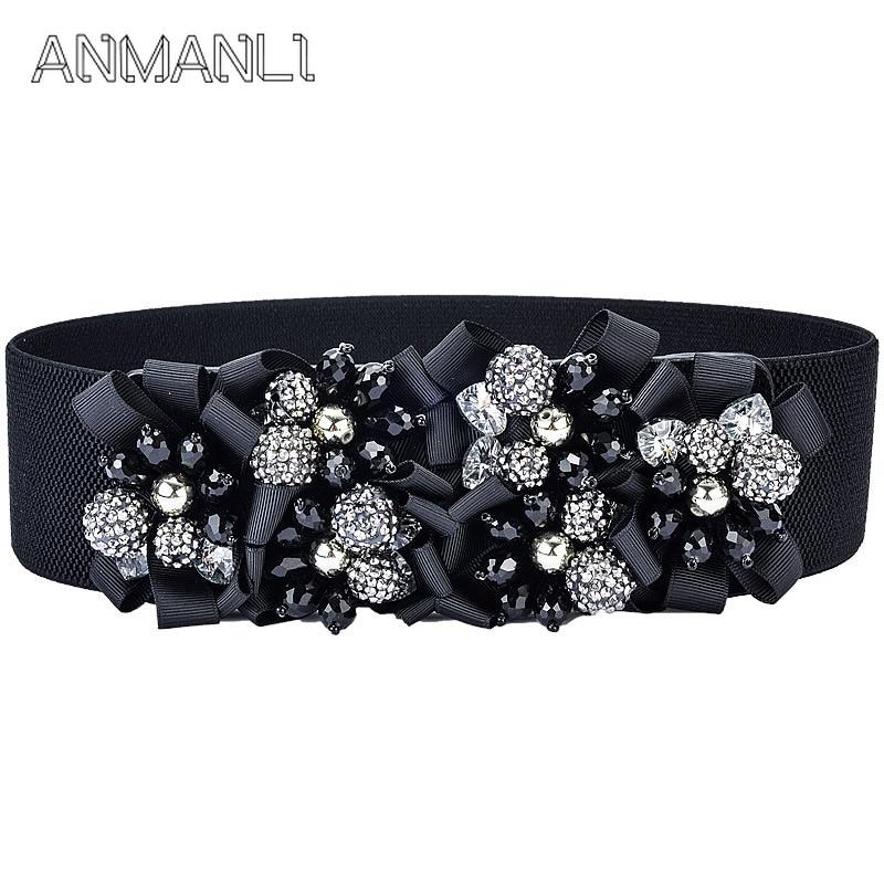 Fashion Women Elastic Wide Corset Belt For Women Glass Crystal Ceinture Ladies Thin Rhinestone Inlaid Belt Waist Girdle SJ14