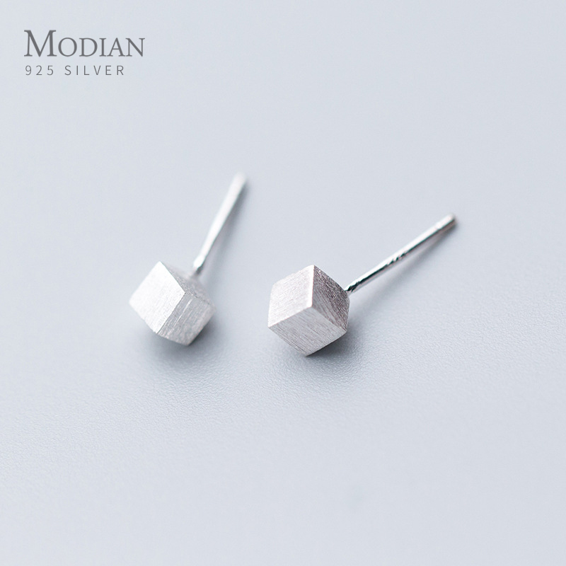 Modian Authentic Fashion 925 Sterling Silver 3D Square Frosted Stud Earrings For Women Luxury Charm Cute Statement Jewelry