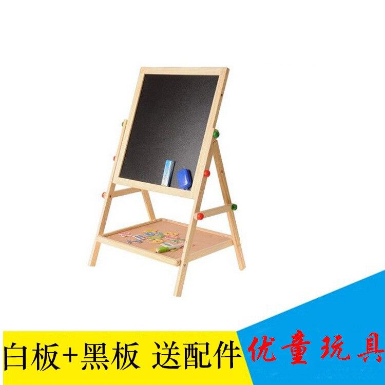Solid Wood Children Shake Tableaux Board Easel Set Double-Sided Magnetic Celebrity Style Blackboard Braced Writing Board Hot Sel