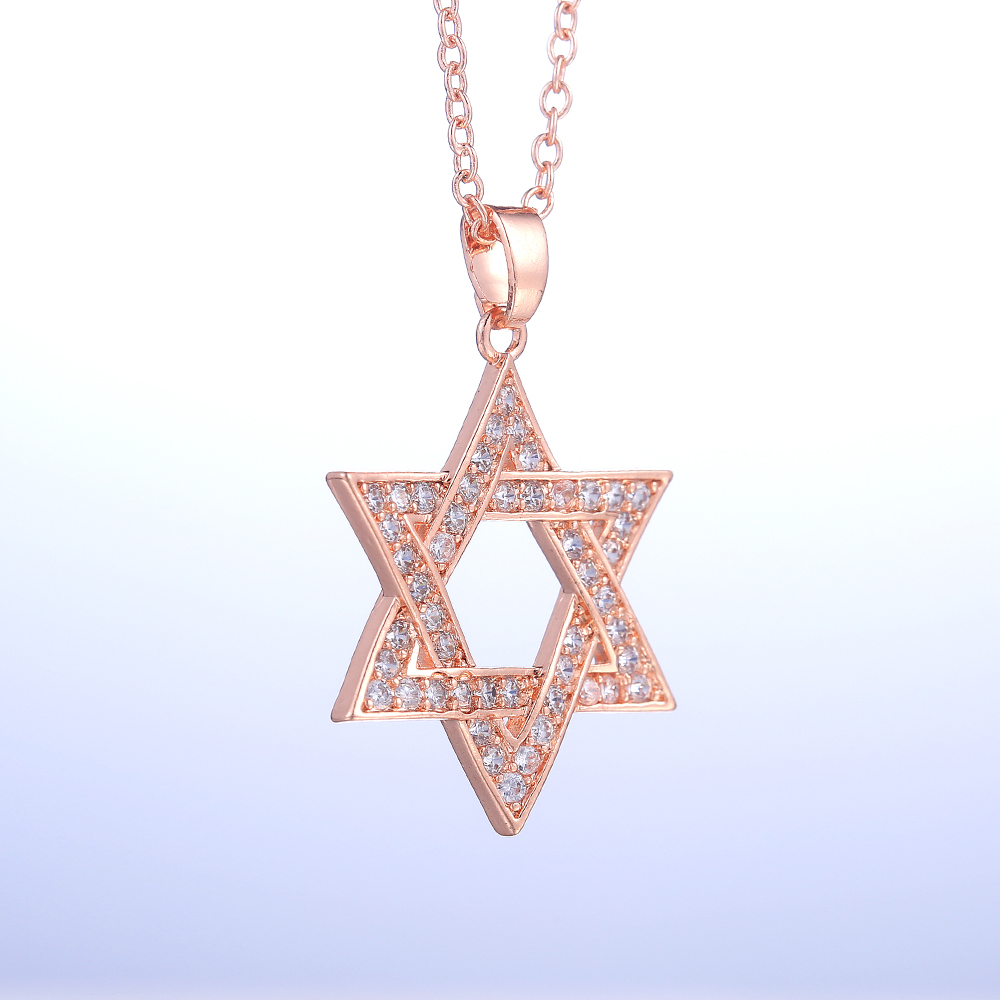 Huitan Romantic Rose Gold Color Star Pendent Necklaces Inlaid Shiny CZ Elegant Accessories Fancy Girl Gift Women Fashion Jewelry