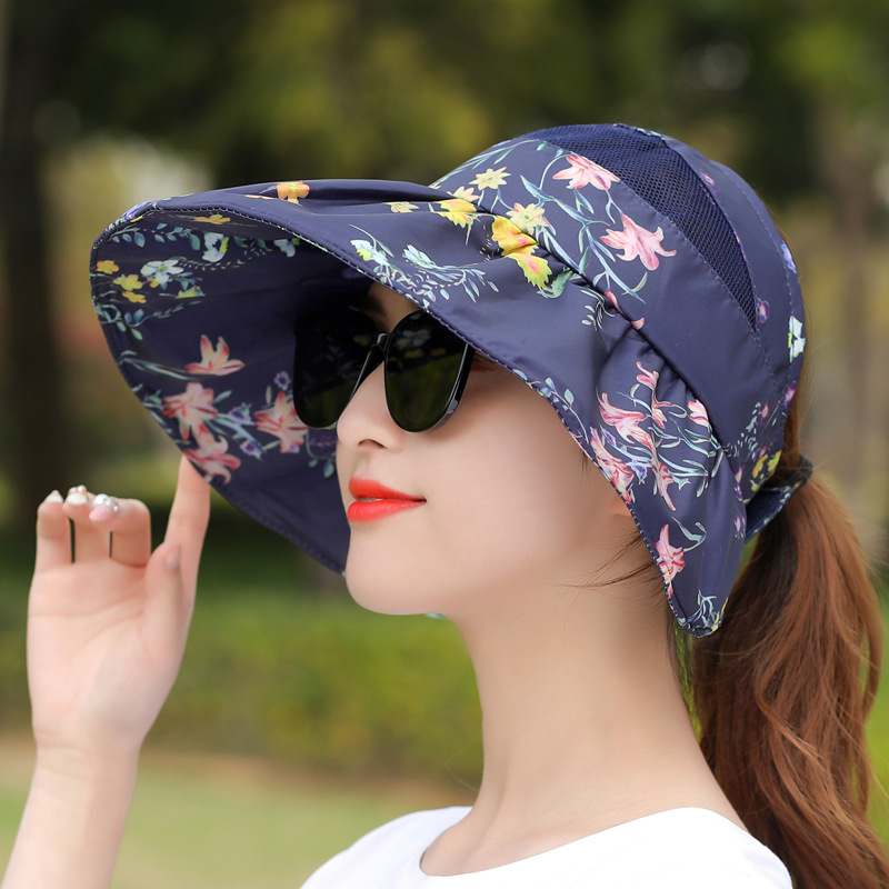 Hat Women's Summer Sun-resistant Large Brimmed Empty Top Korean-style Versatile Fashion Outdoor Outing Sun Hat UV-Protection Top