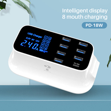 Lovebay 8 Port Smart USB Fast Charging Station with LCD Digital Display Multi USB PD Type-C Wall