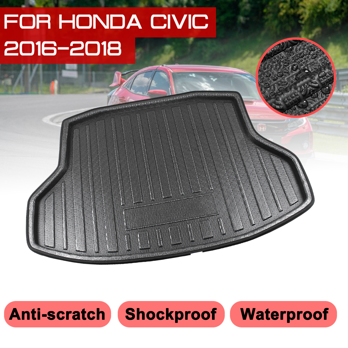 Car Rear Trunk Boot Mat For Honda Civic 2016 2017 2018 Waterproof Floor Mats Carpet Anti Mud Tray Cargo Liner