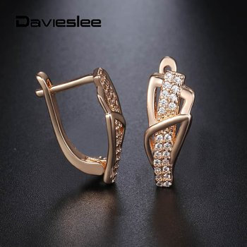Davieslee Womens Earrings 585 Rose Gold Filled Geometric Shaped Paved Cubic Zirconia Earrings For Women Jewelry Gifts Lge156a Leather Bag