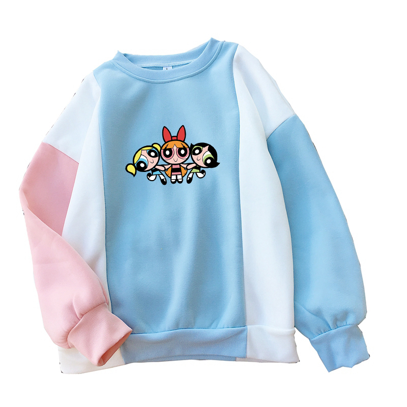 Kawaii The Powerpuff Girls Sweatshirt Casual Streetwear Harajuku Spell Color Splicing Flecce Tops Hoodies Women Fashion Clothing