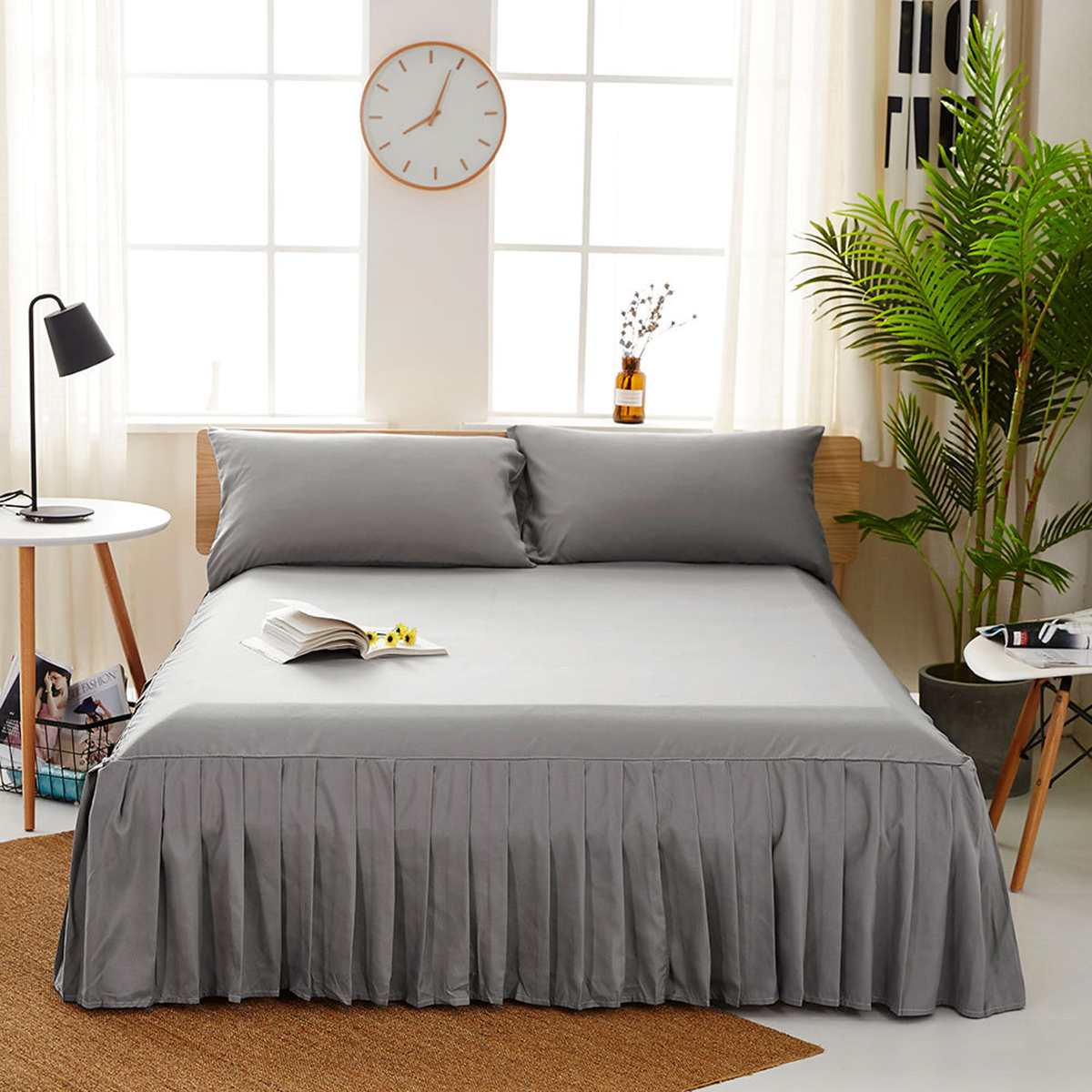 4 Colors 4 Sizes Solid Color Bed Skirt Bed Home Hotel Fitted Sheet Cover Bedspread Pillowcase