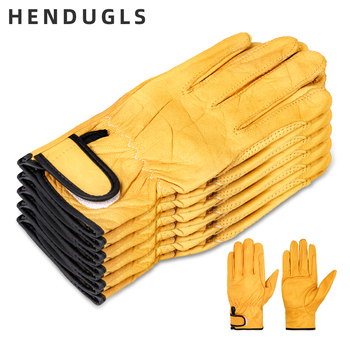 HENDUGLS 5pcs New Free Shipping Protection Glove D Grade Cowhide yellow Ultrathin Leather Safety Work Gloves Wholesale 527NP