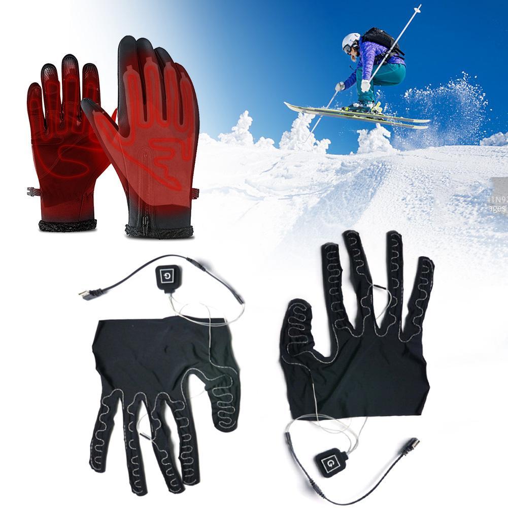 Перчатки с пятью пальцами, нагревательные подушки, с питанием от литиевого аккумулятора, с регулируемой температурой, нагревательная подуш...