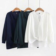 T55 весенняя одежда стиль большие размеры платье плюс размер d увеличение жира мм пуловер сплошной цвет шифон плиссированная рубашка 61