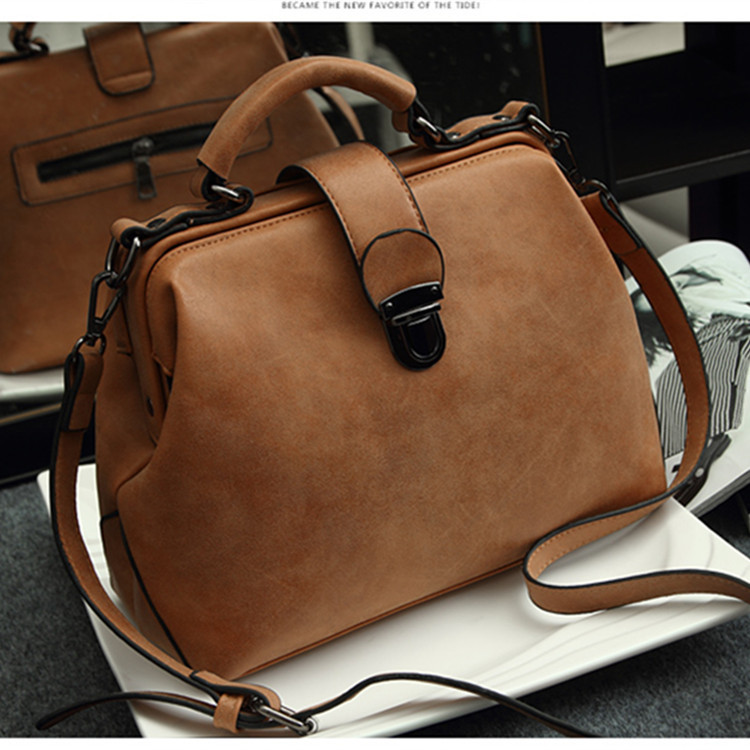 New Style Retro Doctor's Bag Shoulder Bag Women's Handbag Shoulder Bag Nubuck Leather WOMEN'S Leather Bags