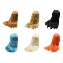 Blyth boneca gélido peruca apenas rbl couro cabeludo e cúpula cabelo gordo, dourado loira preto em linha reta azul cabelo laranja