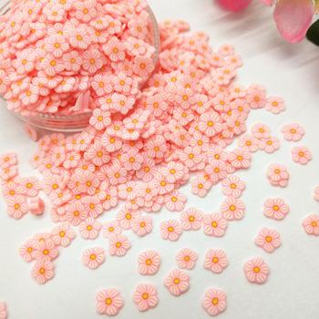 20 g partia różowy stokrotka kwiat glina polimerowa kolorowe dla majsterkowiczów małe śliczne 5mm plastikowe cząstki błoto klei tanie i dobre opinie Clay Pink Flower 20g lot