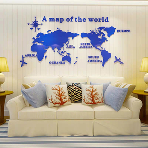 Image 3 - Large size World Map Acrylic 3D Wall Stickers for Living Room Sofa Background Mirror Wall Stickers DIY Art Home Decoration